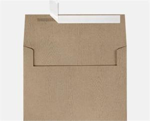 A7 Invitation Envelopes (5 1/4 x 7 1/4) LUXPaper — Oak Woodgrain 68lbs Peel and Press