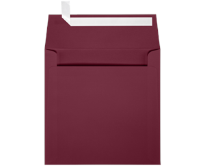 6 x 6 Square Envelopes LUXPaper — Burgundy Linen Peel & Press™ 80lbs