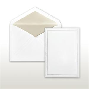 Pearl Multi-Stamped Embossed Border White Cabinet of 50 Invitations Set