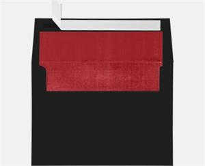 A7 Foil Lined Invitation Envelopes (5 1/4 x 7 1/4) LUXPaper — Black w/Red LUX Lining 80lbs