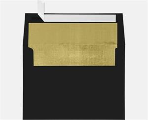 A7 Foil Lined Invitation Envelopes (5 1/4 x 7 1/4) LUXPaper — Black w/Gold LUX Lining  Peel and Press 80lbs