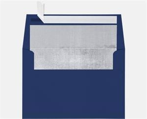 A7 Foil Lined Invitation Envelopes (5 1/4 x 7 1/4) LUXPaper — Navy w/Silver LUX Lining 80lbs