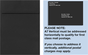 A7 Vertical Invitation Envelopes (7 1/4 x 5 1/4) 80# Midnight Black Peel and Press