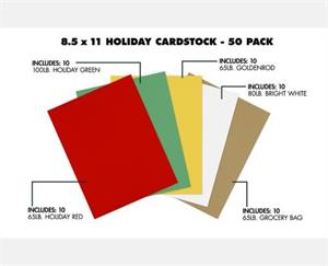 8 1/2 x 11 Cardstock 50 Pack Assorted