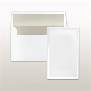 Pearl Multilevel Stamped/Embossed Border On Extra Large Card White Cabinet of 50 Invitations Set