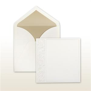 Square Card With Pearl Stamped Swirled Side Panel Natural Cabinet of 50 Invitations Set
