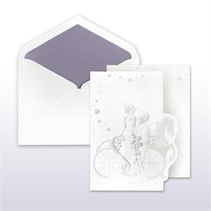 Passion Purple Printed/Stamped Bride And Groom With Horse And Carriage Fan Fold Cabinet of 50 Invitations Set
