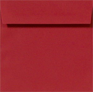 Square Envelopes - RUBY RED- 5 in SQUARE Envelopes 80lbs Peel and Press