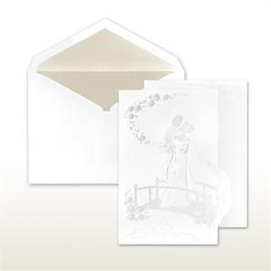 Pearl Stamped Bride And Groom On Bridge Fan Fold Cabinet of 50 Invitations sets