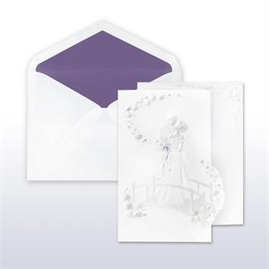 Purple And Pearl Printed/Stamped Bride And Groom On Bridge Fan Fold Cabinet of 50 Invitations Sets