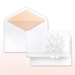 Pink (Blush) And Pearl Printed/Stamped Calla Lily Bouquet Fan Fold Cabinet of 50 Invitations Sets