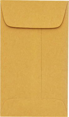 Coin envelopes #4  Brown Kraft 24#  Moistenable Glue 3 x 4-1/2