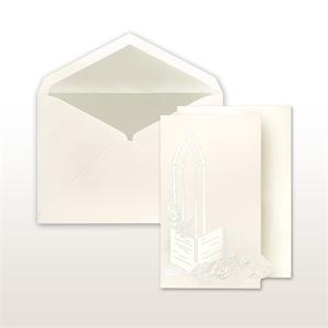 Pearl Stamped Bible, Roses And Church Window Trifold Cabinet of 50 Invitations Set