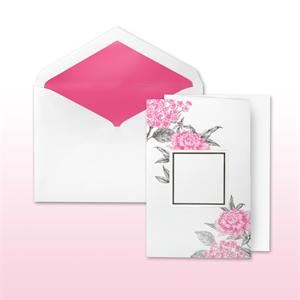Hot Pink And Black Printed Floral With Area For Names Or Monogram Fan Fold Cabinet of 50 Invitations Sets
