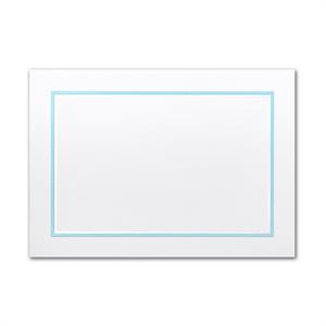 Large White Adelaide card w/Tropical Blue border card set