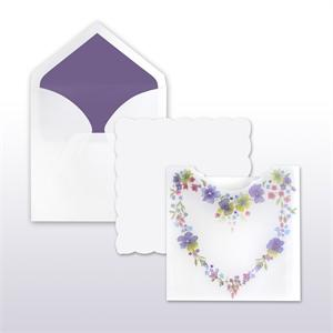 Purple, Blue, Red, Yellow Floral Heart Translucent Pocket With White Scalloped Edge Insert (includes both pieces) 50 Invitations Sets
