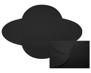 A7 Petal Invitations (5 x 7 ) Midnight Black 100#