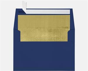 A7 Foil Lined Invitation Envelopes (5 1/4 x 7 1/4) LUXPaper — Navy w/Gold LUX Lining 80lbs