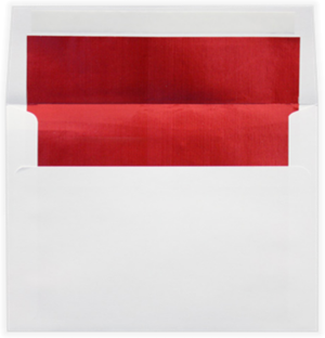 White w/Red LUX Lining 6.5 Square Lined Envelope Peel and Press 60lbs
