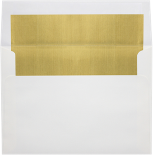White with GOLD LUX Lining 6.5 Square Lined Envelope Peel and Press 60lbs