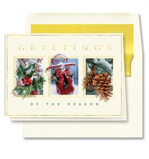 Holly,Sled,Pine cone W/Lined Envelope Box 25 XBT4469