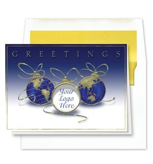 World,Logo,Greetings W/Gold Line Envelope Box 25 XBW7766