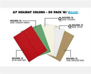 A7 Invitation Envelopes (5 1/4 x 7 1/4) 50 Pack Assorted Peel and Seal