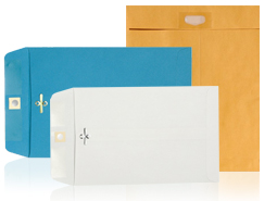 10 x 13 Clasp Envelopes —  Brown Kraft, Midnight Black & Bright Orange